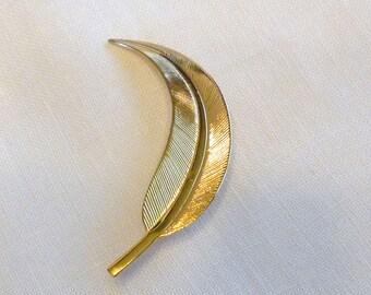 Gold Tone Feather Brooch, Leaf Brooch Pin