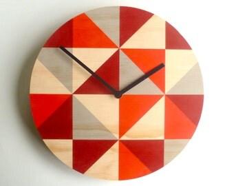 objectify grid red wall clock medium size