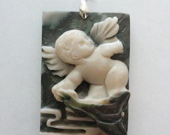 Unique Cupid Hand Carved Stone Pendant