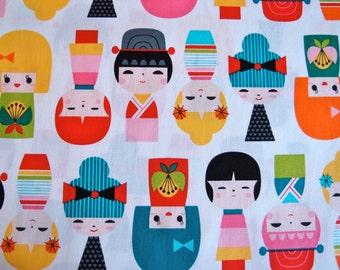 New Kokeshi Doll Fabric in Rainbow by Suzy Ultman for Robert Kaufman Fabrics (1 yard) BUY MORE & SAVE
