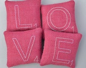Scrabble Letter LOVE Decorative Pillows - Valentines Day Bowl Fillers - Pink Burlap Tucks - Wedding decor - Anniversary Gift - Home Decor