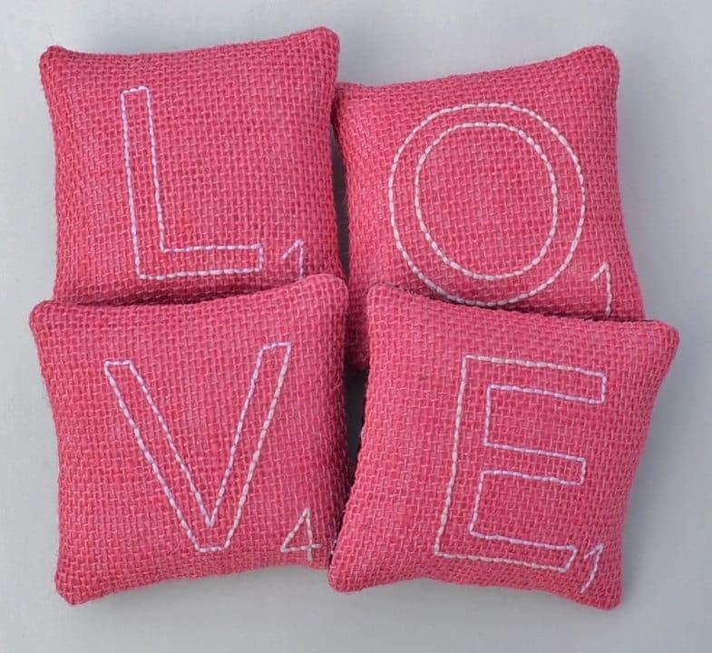 Scrabble Letter LOVE Decorative Pillows Valentines Day Bowl