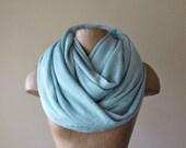 POWDER BLUE Infinity Scarf - Chunky Baby Blue Scarf - Slub Knit Tube Scarf - Oversized Extra Wide Womens Scarf
