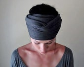 CHARCOAL GREY Head Scarf - Yoga Hair wrap - Jersey Headband - Womens Hair Accessories - Gray Ribbed Knit Head Scarf