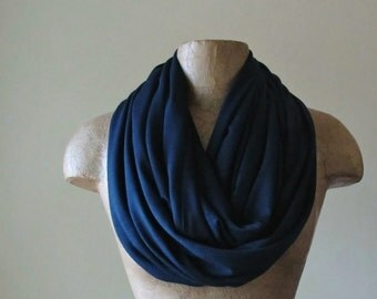 MIDNIGHT BLUE Infinity Scarf - Lightweight Circle Scarf - Dark Blue Jersey - Dark Navy Blule Loop Scarf