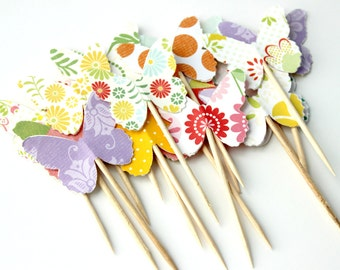 Bright Butterfly Cupcake Toppers, Summer Cake Topper, Showers, Wedding, Food Pick, Set of 12