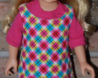18 Inch American Girl Doll - Sleeveless Dress with Pink T-Shirt and Aqua tights