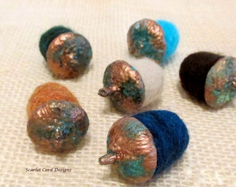 Felted Acorns, Needle Felted Acorns, Fall Decoration, Copper Patina, Wool Acorns, Set of Six, Made to Order