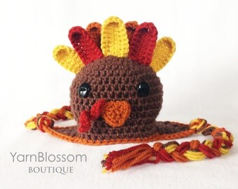 CROCHET PATTERN Turkey Earflap Hat (4 sizes included from newborn-10 years) Instant Download