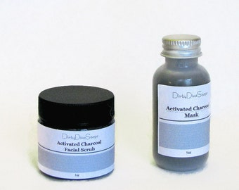 Mini Facial Set in Activated Bamboo Charcoal, All Natural Facial Scrub with Apricot Seed and Detox Mask