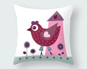 Kids throw pillow, Baby Toddler Nursery animal, decor, kids pillows, cushion cover, bird, kids bedding, kids decor room, decorative pillows
