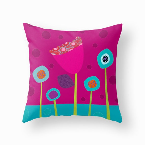 Kids throw pillow, decorative pillow, colourful flowers, cushion cover, children bedding ...