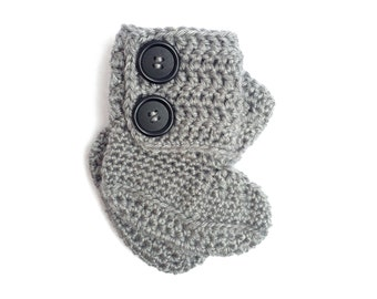 Grey Crochet Baby Ankle Boots with Black Buttons - Crochet Baby Shoes - Baby Girl Gift
