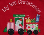 Reversible Christmas Train with Presents/Monogrammed Boy  Longalls