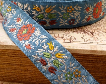 Vintage French Blue woven Jacquard ribbon trim with embroidered florals #971-07