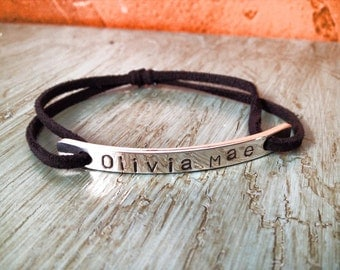 Handmade Sterling Silver and Leather Stamped Bracelet