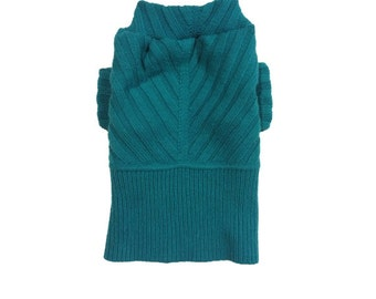 Designer Dog Sweater, Small Teal Directional, Pet Clothes ,Puppy Boutique