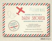 airplane baby shower invite vintage inspired PRINTABLE digital file DIY