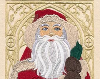 Art Nouveau Santa Claus Embroidered Flour Sack Hand/Dish Towel