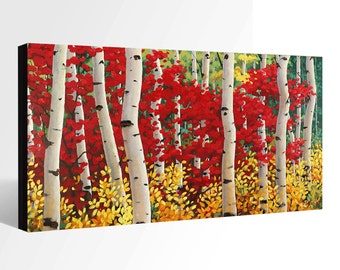 OIL Painting LANDSCAPE Painting Giclee Print Canvas Print Fine Art Print of ORIGINAL Painting Aspen Painting  Fall Painting Trees Painting