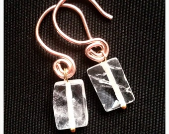"Small clear crystal copper  earrings // 1""L"