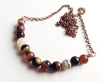 "Genuine stripped brown agate copper necklace // ready to ship // 19""L"