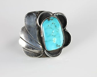 Navajo Blue Turquoise Ring, Sterling silver Ring Southwestern size 7, Native American vintage jewelry