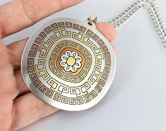 Damascene Necklace Greek key tribal jewelry, Reed and Barton, Large Aztec style Vintage jewelry