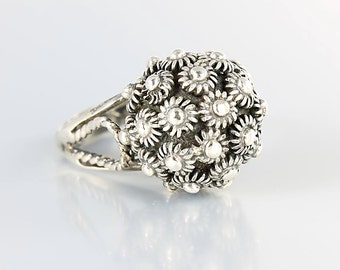 Dome Silver Ring, Mexican Sterling silver Cannetille Ring, Tall Flower cluster size 6 middle finger vintage jewelry