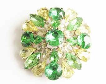 Vintage Green Yellow Rhinestone Dome Brooch 2 inches
