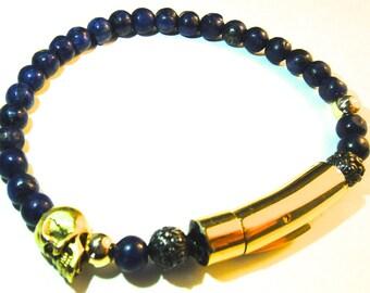COBALT SUBMARINER Mens Sapphire and Gold 6mm Bracelet