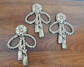 Vintage Burwood 3 Gold Guild Medallion Tassels Hollywood Regency Syroco