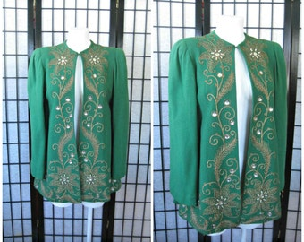 Vintage 1940s Evening Jacket Green Wool Faux Pearls Glass Gold Trim Embellished 34 36 S M Saks Fifth Avenue 40s Glam Soutache Sale Reduced