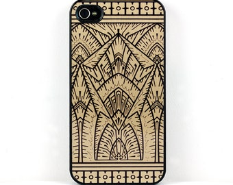 Geometric iPhone case, Gold and Black Vintage Art Deco iPhone 4 5 6 case, Plastic iPhone Case, retro style elegant cell phone case