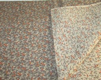 Vintage Brown Beige and Orange Floral Print Cotton Blend Fabric, Quilt Fabric, Vintage Textiles, Vintage Material