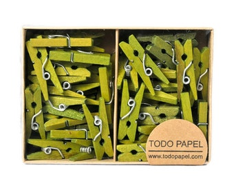 Olive green Mini clothespins 25 ct. 1 inch wooden pegs miniature clips apple green small gift enclosures for home decor