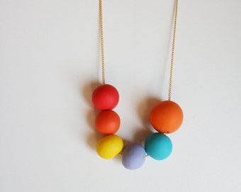 Bright rainbow polymer clay necklace - geometric beads necklace-  round beads- Cute necklace