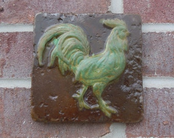 Concrete Rooster 6x6 Accent Stained Tile