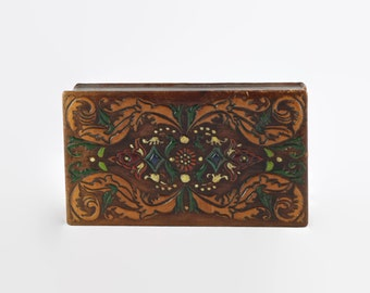 Vintage Hand Tooled and Painted Italian Leather Hinged Box with Moire Silk Lining