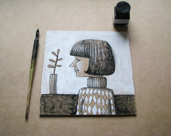 Girl with flower- original painting on wood sheet-ink drawing-walldecor-FREE SHIPPING in July