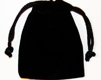 SMALL BLACK VELOUR Crystal Bag / Pouch with Drawstring Closure - 2 x 2.5 inch