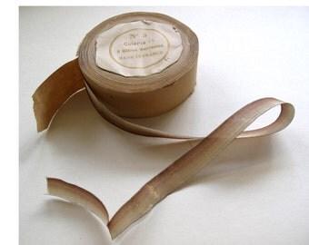 1 yd Vintage Antique Brown Ombre Gold Metallic Ribbon Rosebuds Ribbonwork