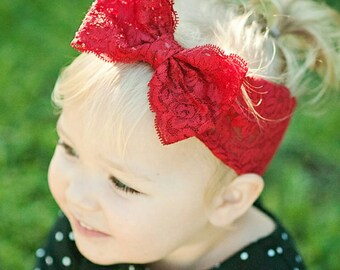 New { the Adeline } red lace bow headband . Newborn, toddler, child, teen, adult