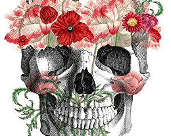 Flower Child Sugar Skull - Day of the Dead - Ornate Oddities Bones - Digital Image Vintage Art Illustration