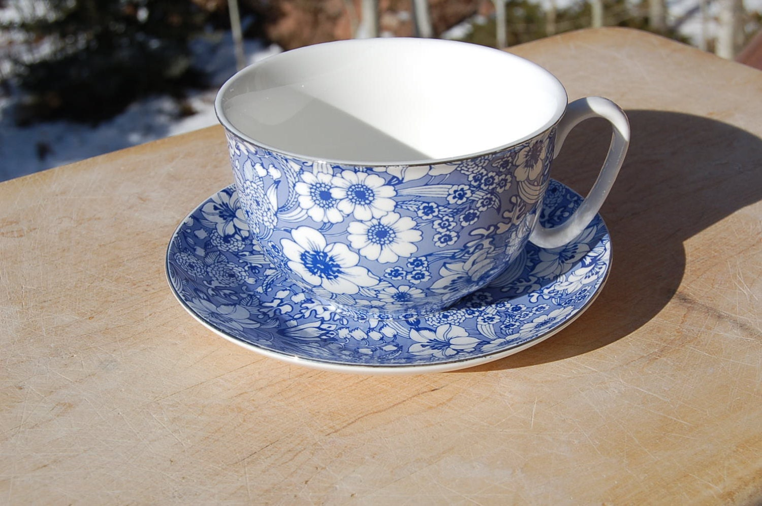 Blue White Calico Extra Large Coffee Tea Cup And Saucer Silver