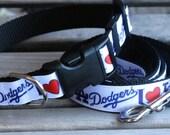 LA Dodgers Dog Leash and Collar Set