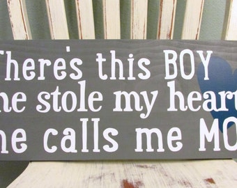 There's this boy sign - wood - sign for son or daughter - custom wood sign in colors of your choice - 9.25x22 in size  LR-106