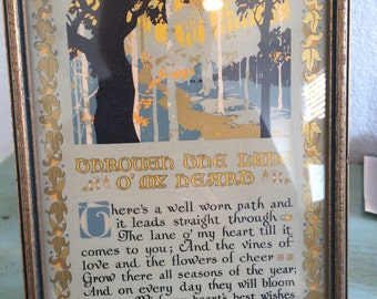 "1920's hand painted, stenciled ""through the land O' my heart"" framed, vintage saying"