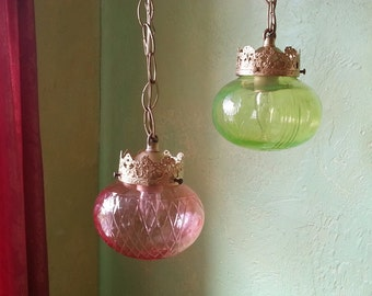 Pendant Lamp Pair, Spring Colors, Cut Crystal and Glass