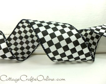 """Wired Ribbon, 2 1/2"""", Black and White Check Plaid - THREE YARDS - """"Raceway""""  Race, Racing Finish Flag, Wire Edged Ribbon"""
